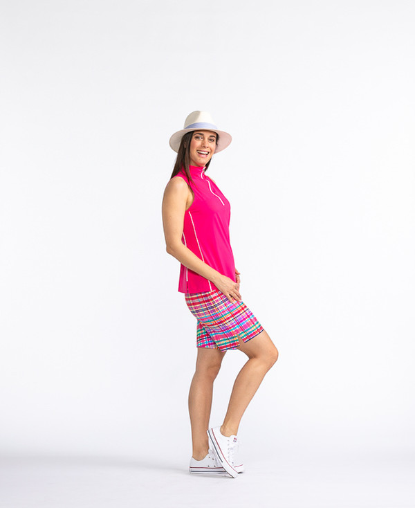 Keep It Covered Sleeveless Golf Top - Flamingo