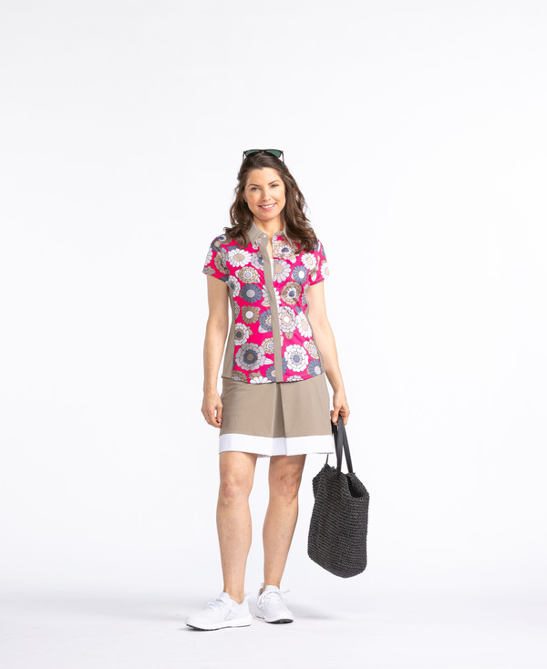 Cap It Off Shortsleeve Golf Shirt - Flower Power