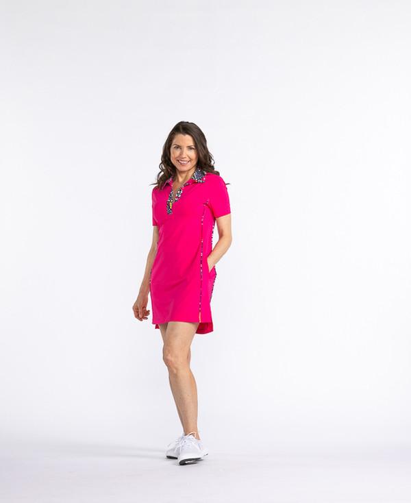 Button and Run Shortsleeve Dress - Flamingo