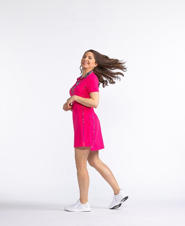 Bump and Run Shortsleeve Dress - Flamingo