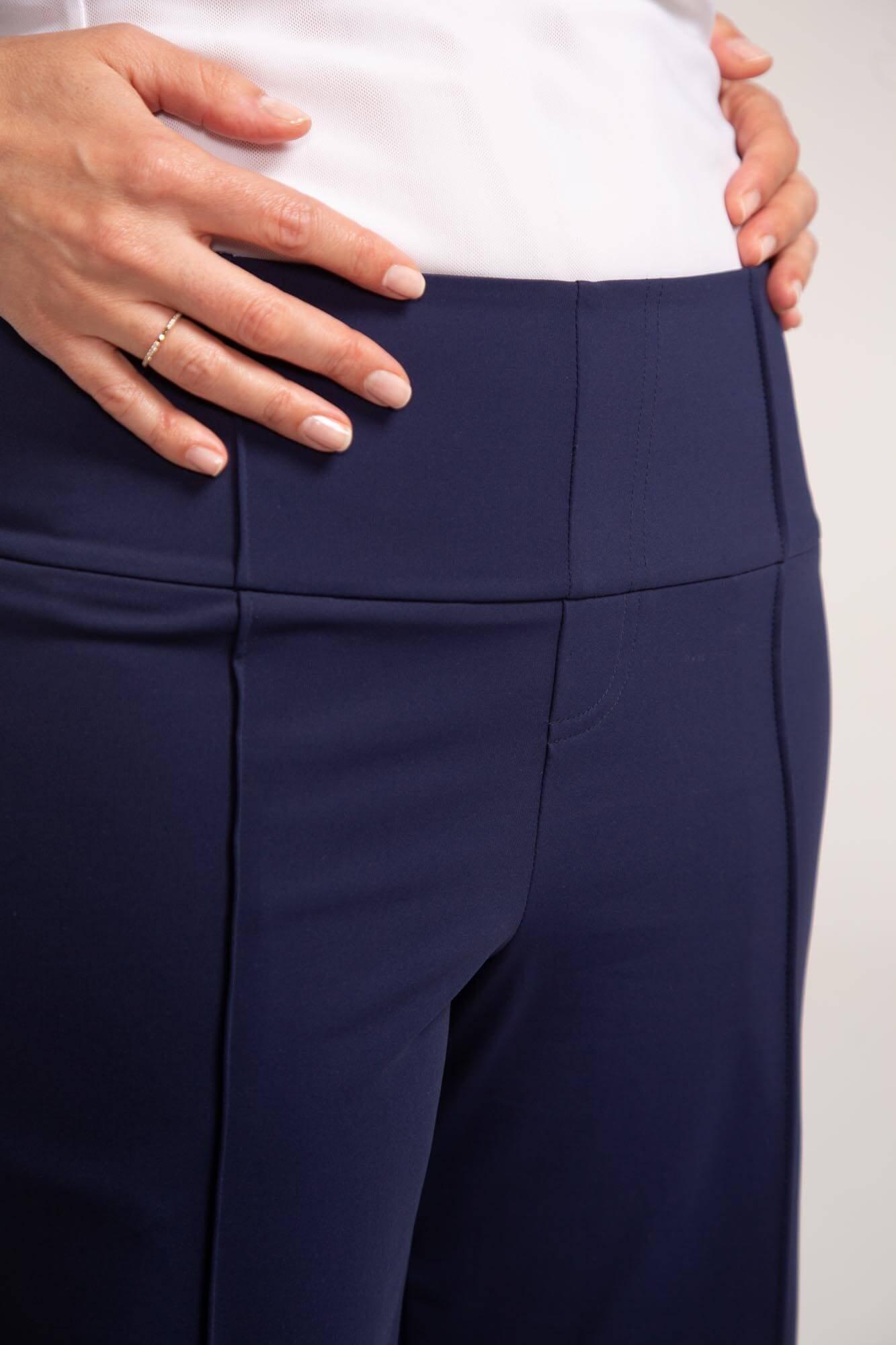 Close up of navy blue Tailored and Trim golf short