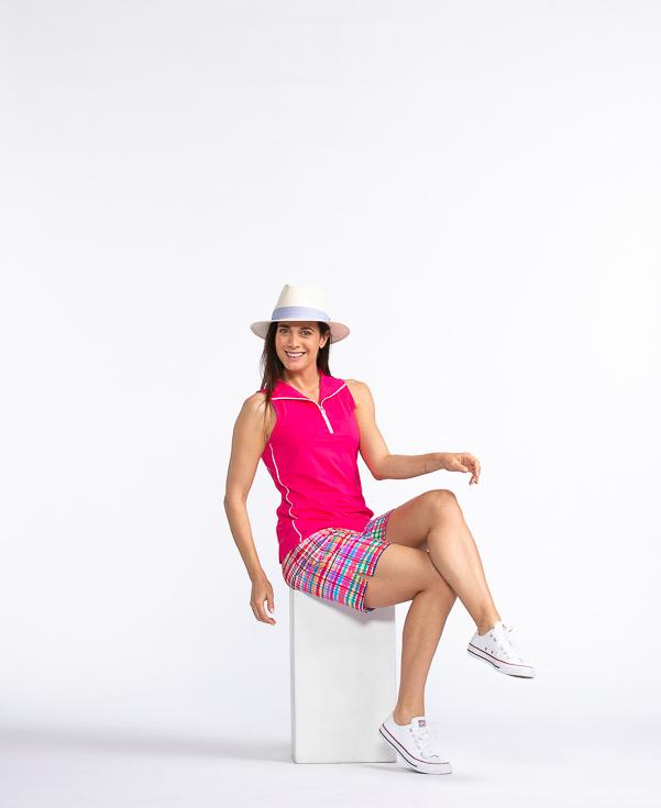 Keep It Covered Sleeveless Golf Top - Flamingo