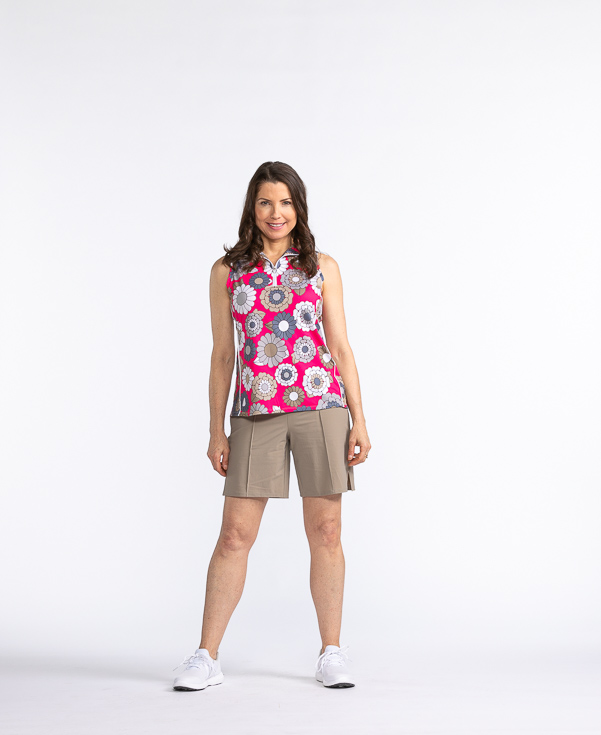 Keep It Covered Sleeveless Golf Top - Flower Power