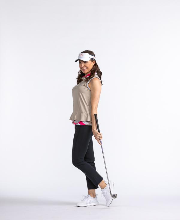 Layered Look Sleeveless Golf Top - Sand