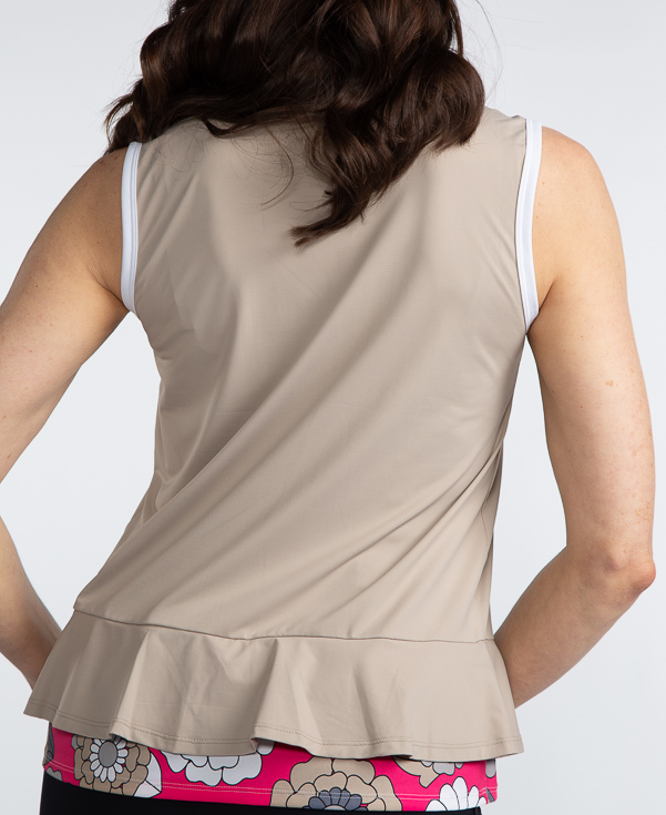 Layered Look Sleeveless Golf Top - Sand