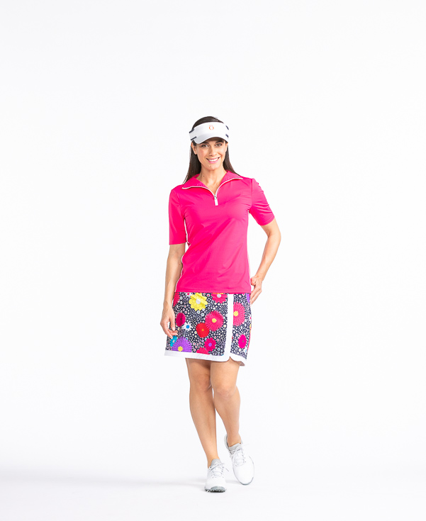 Keep It Covered Shortsleeve Golf Top - Flamingo
