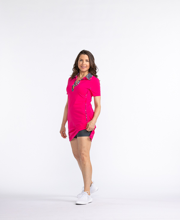 Button and Run Shortsleeve Dress - Flamingo