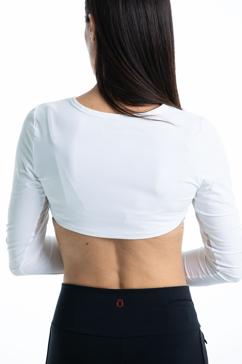 Back view of woman in a white Sun's Out Shrug With Mesh