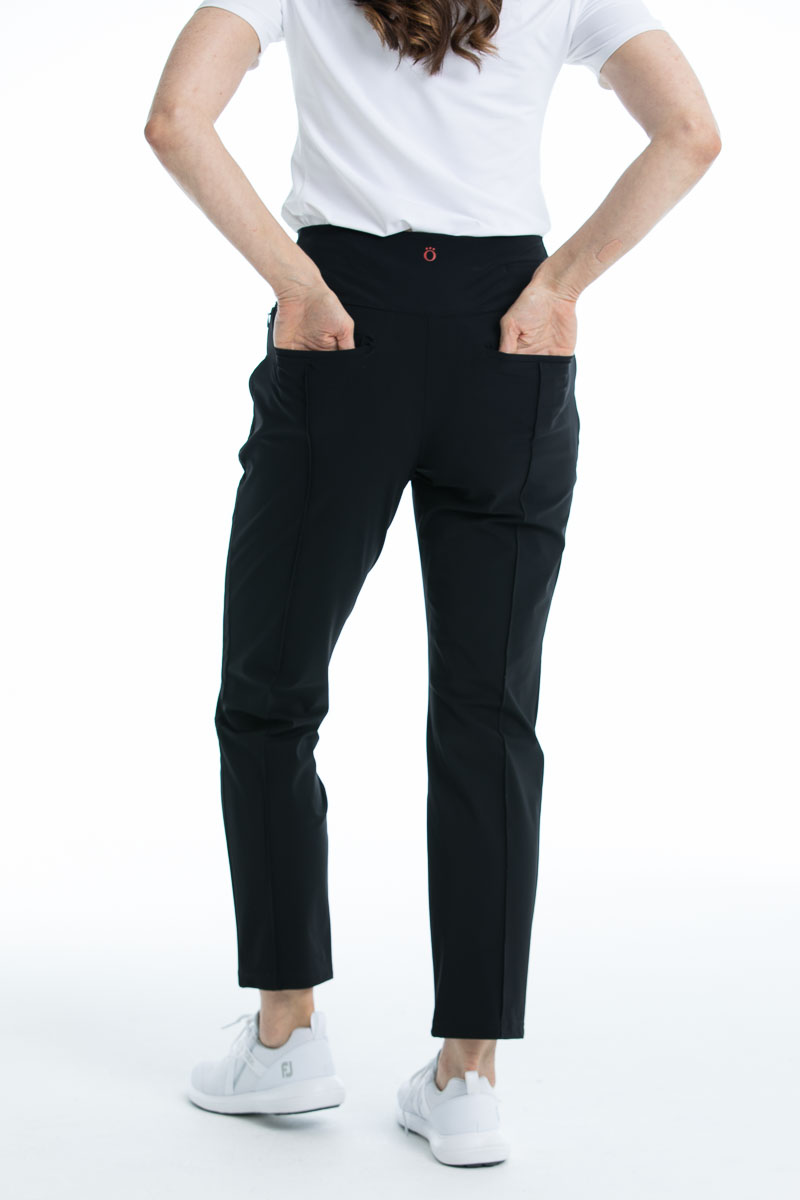 women's black trouser pant with back pockets