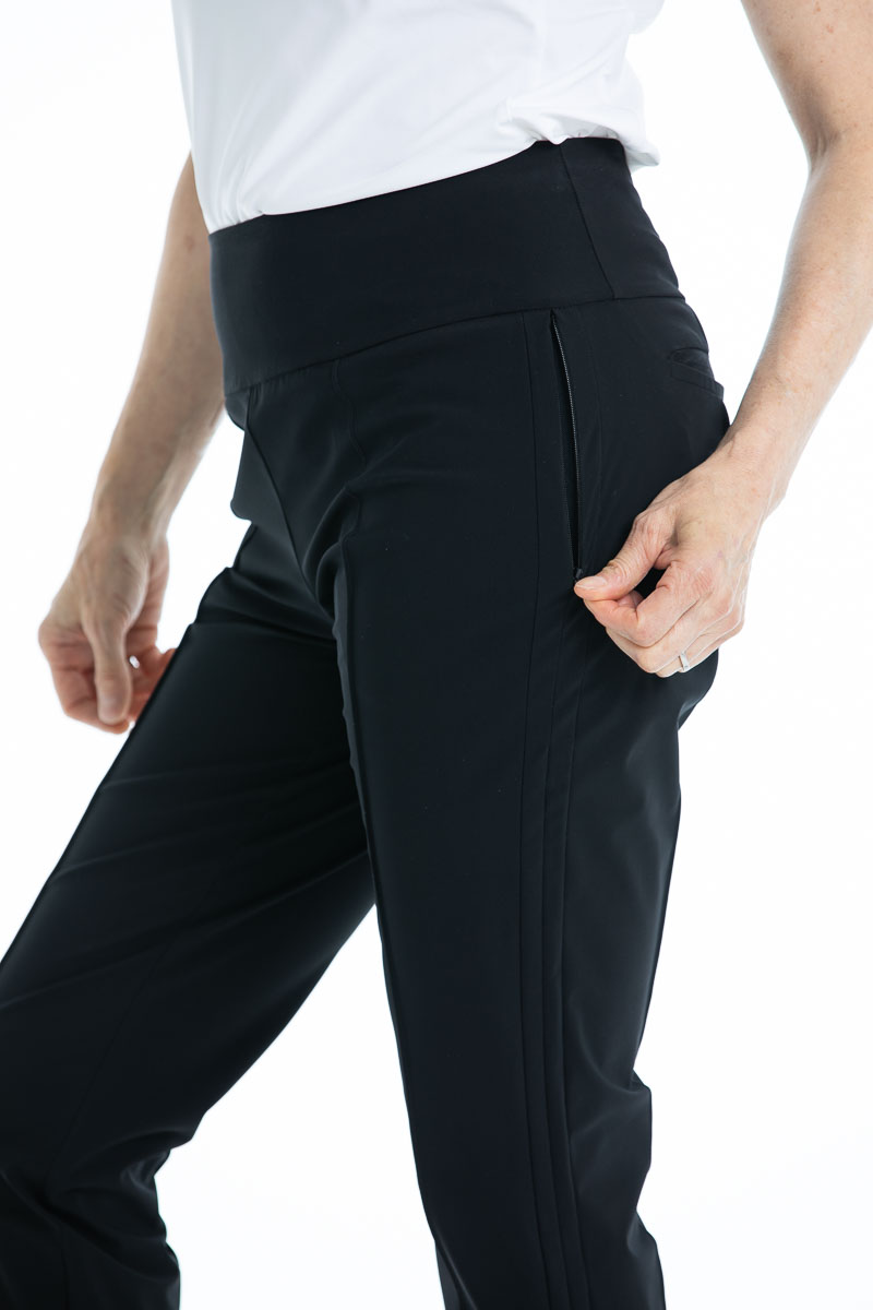 Women's black golf pant with zippered pockets