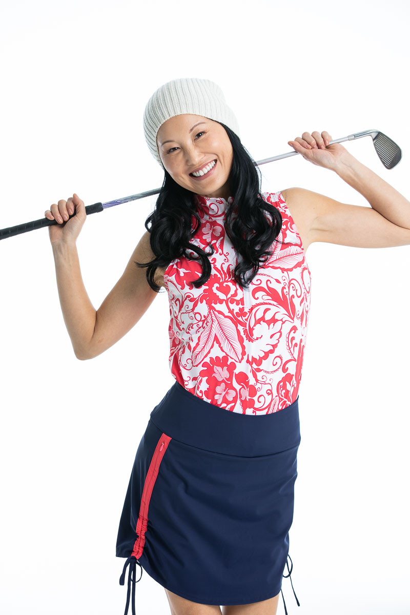 Keep it Covered Sleeveless Golf Top - Watermelon Floral