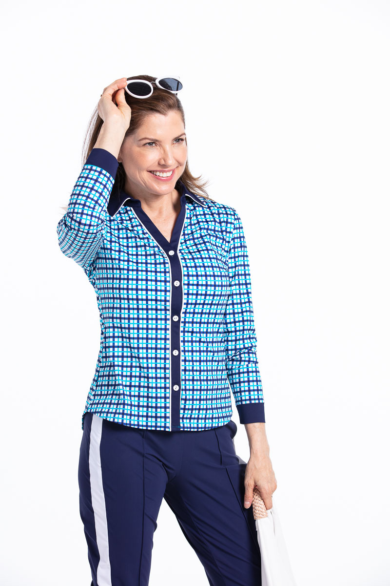 Class Act Longsleeve Golf Shirt - Mediterranean Blue Check