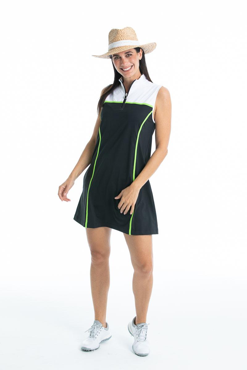 women in black sleeveless golf dress wearing straw hat
