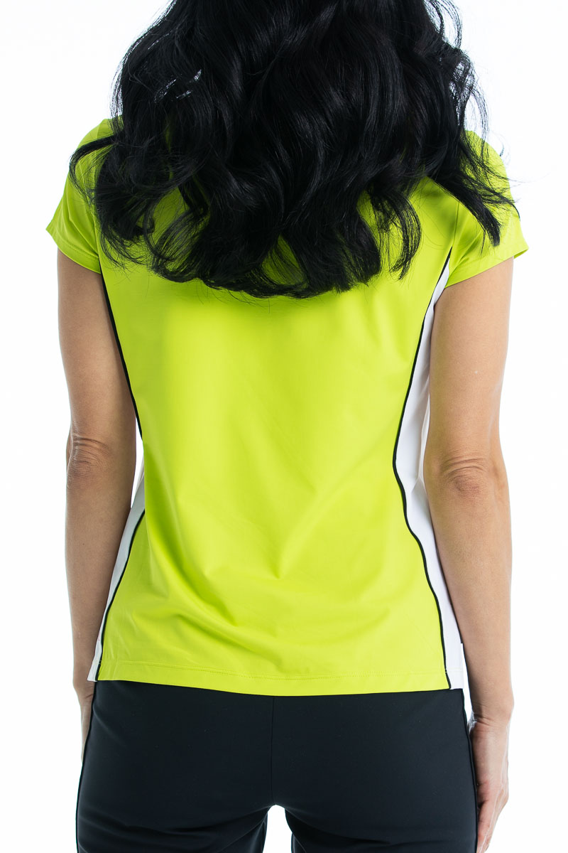 women with long black hair wearing a chartreuse yellow shortsleeve polo top back view.