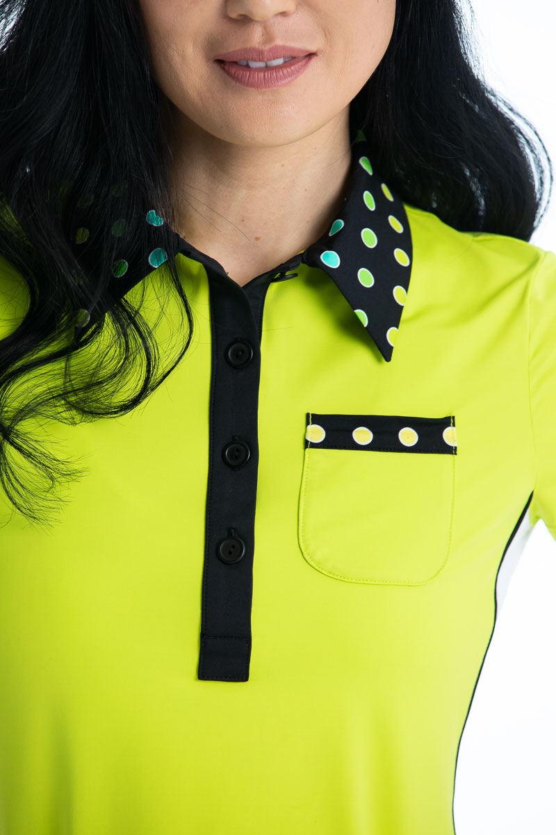 Button and Run Shortsleeve Golf Top - Chartreuse Yellow
