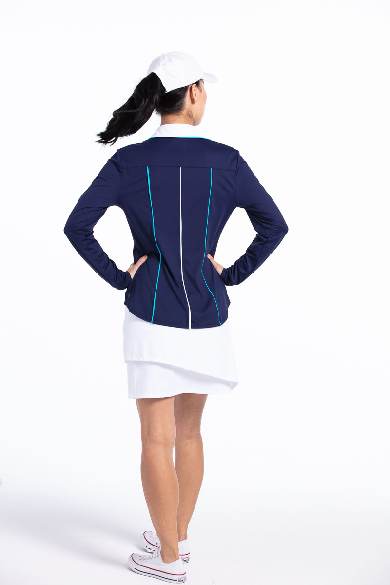 Class Act Longsleeve Golf Shirt - Navy Blue