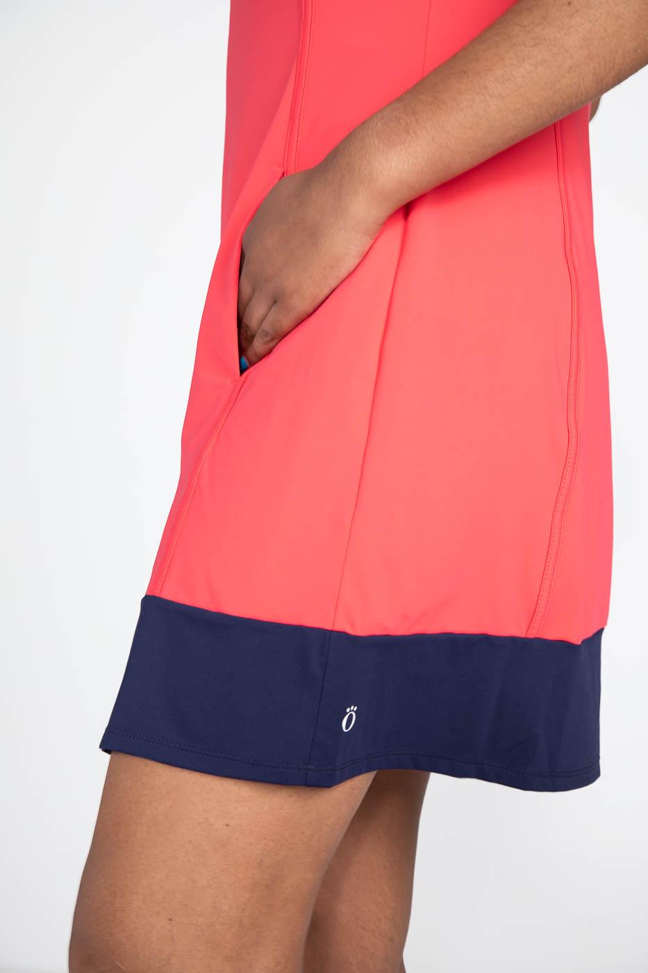 Kick Pleat Chic Sleeveless Golf Dress -Watermelon Red