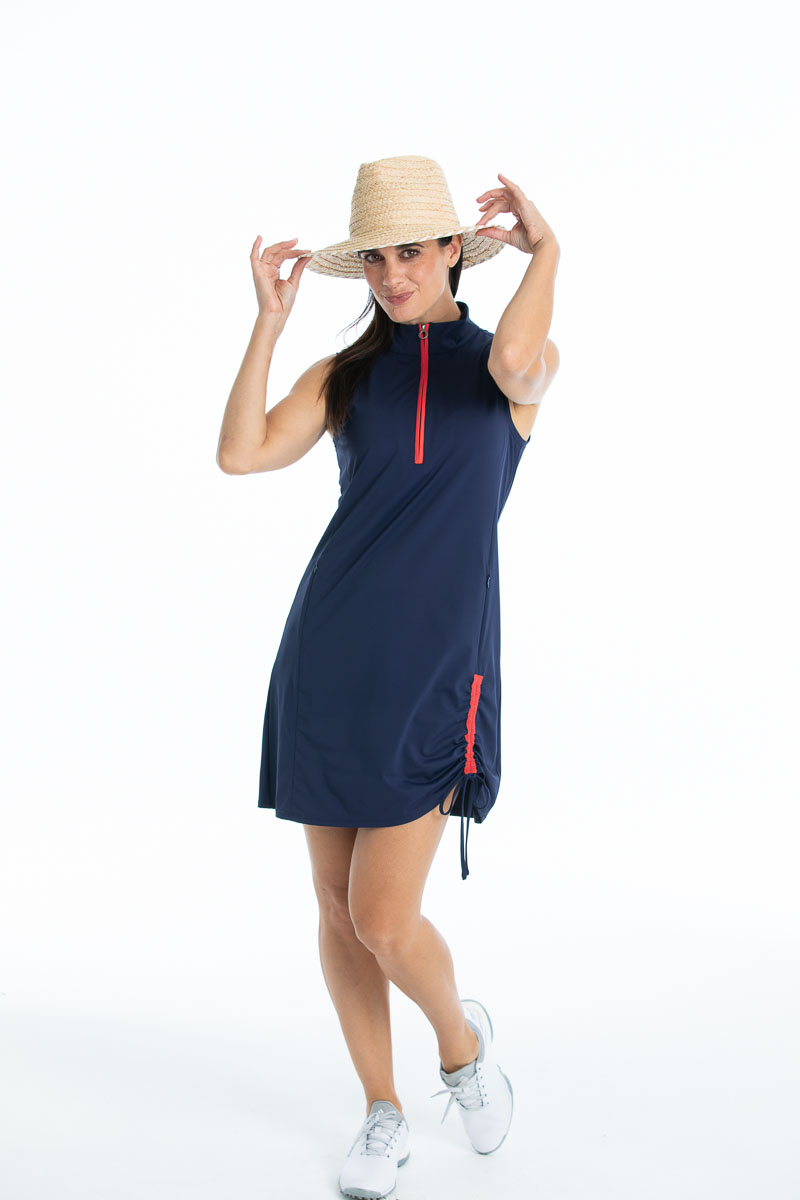 Woman in Rouched and Ready sleeveless golf dress - navy blue