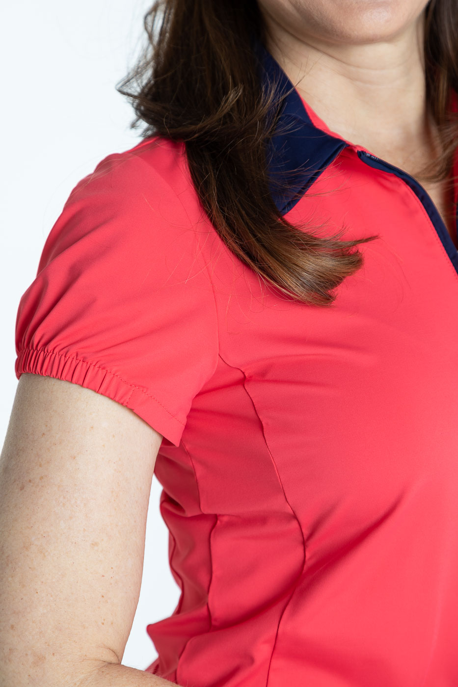 Close up of the shortsleeve watermelon red Prettier Than a Polo shirt