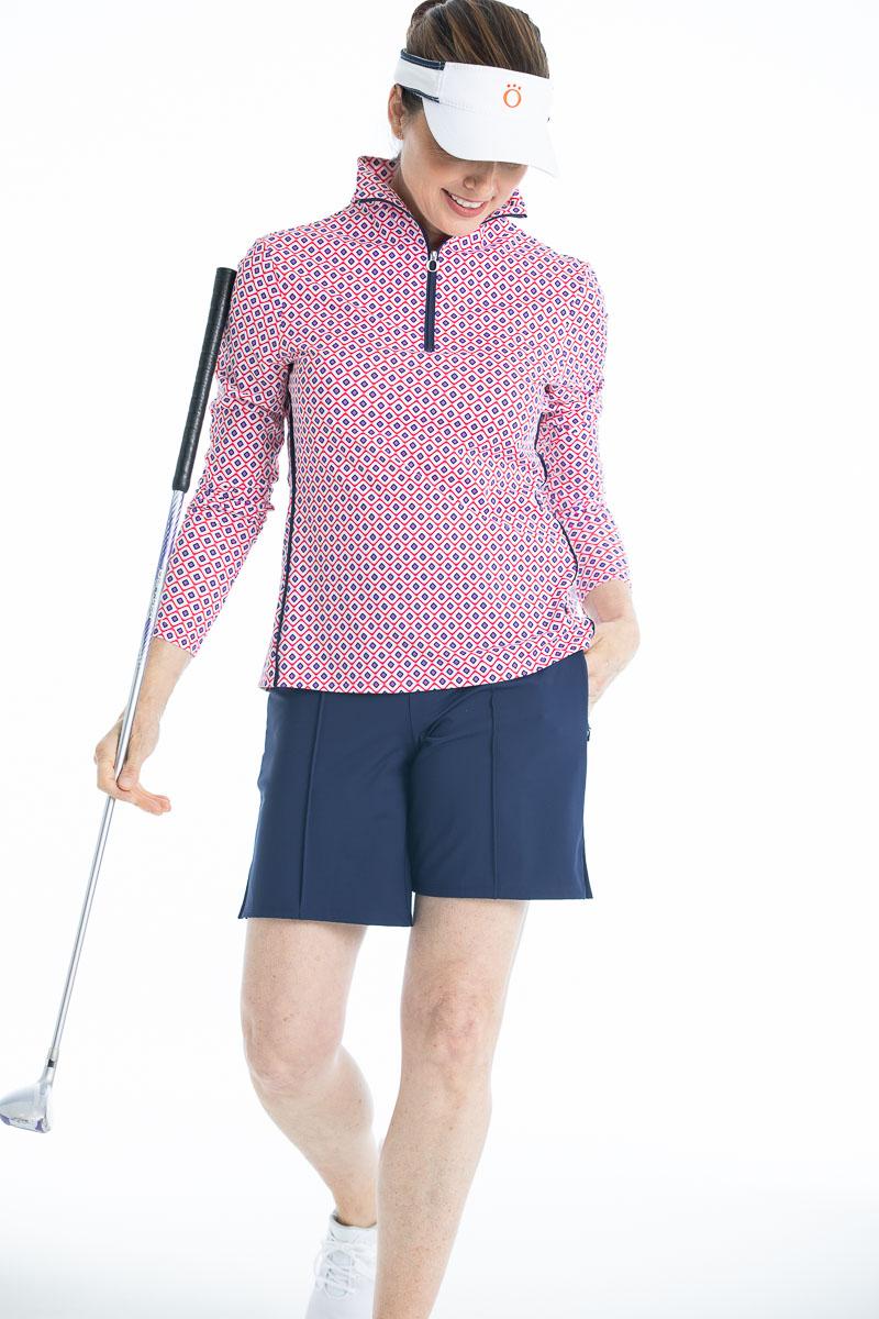 Woman wearing foulard print Keep it Covered Longsleeve Golf Top