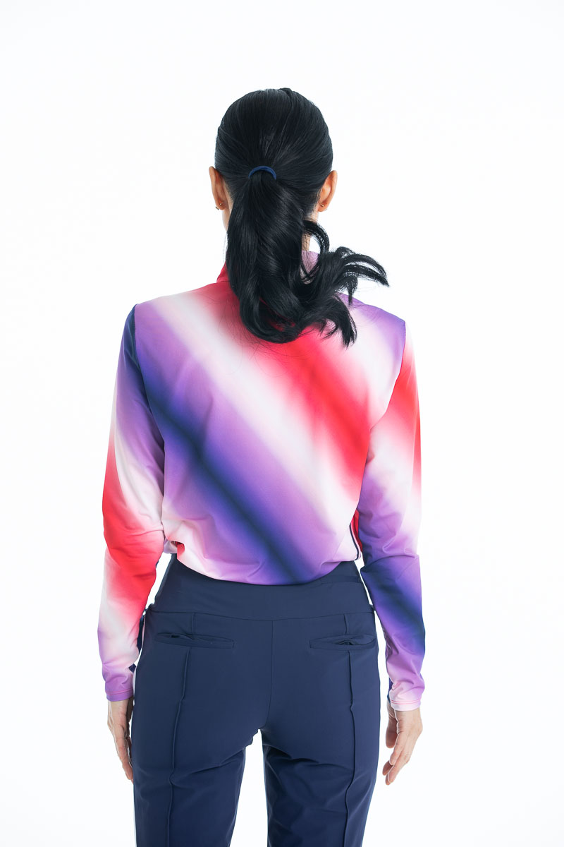 Back view of the Keep it Covered Longsleeve Golf Top in Ombre print