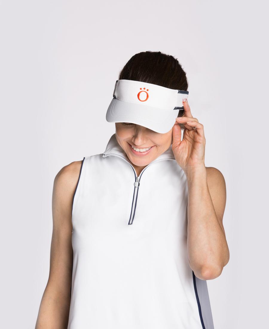 women wearing a golf visor