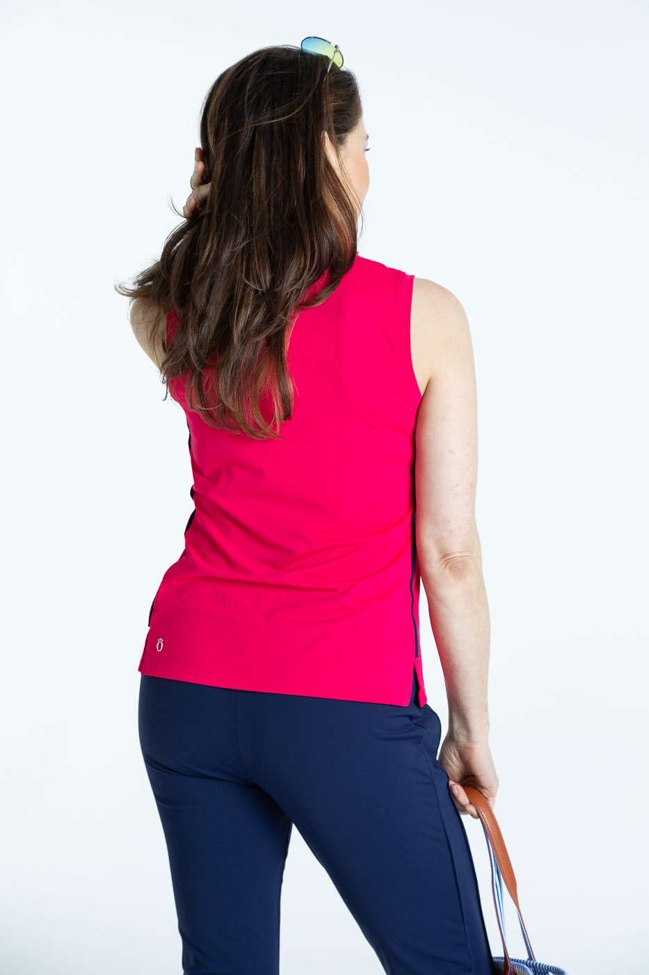 Back view of raspberry red Keep it Covered sleeveless golf top