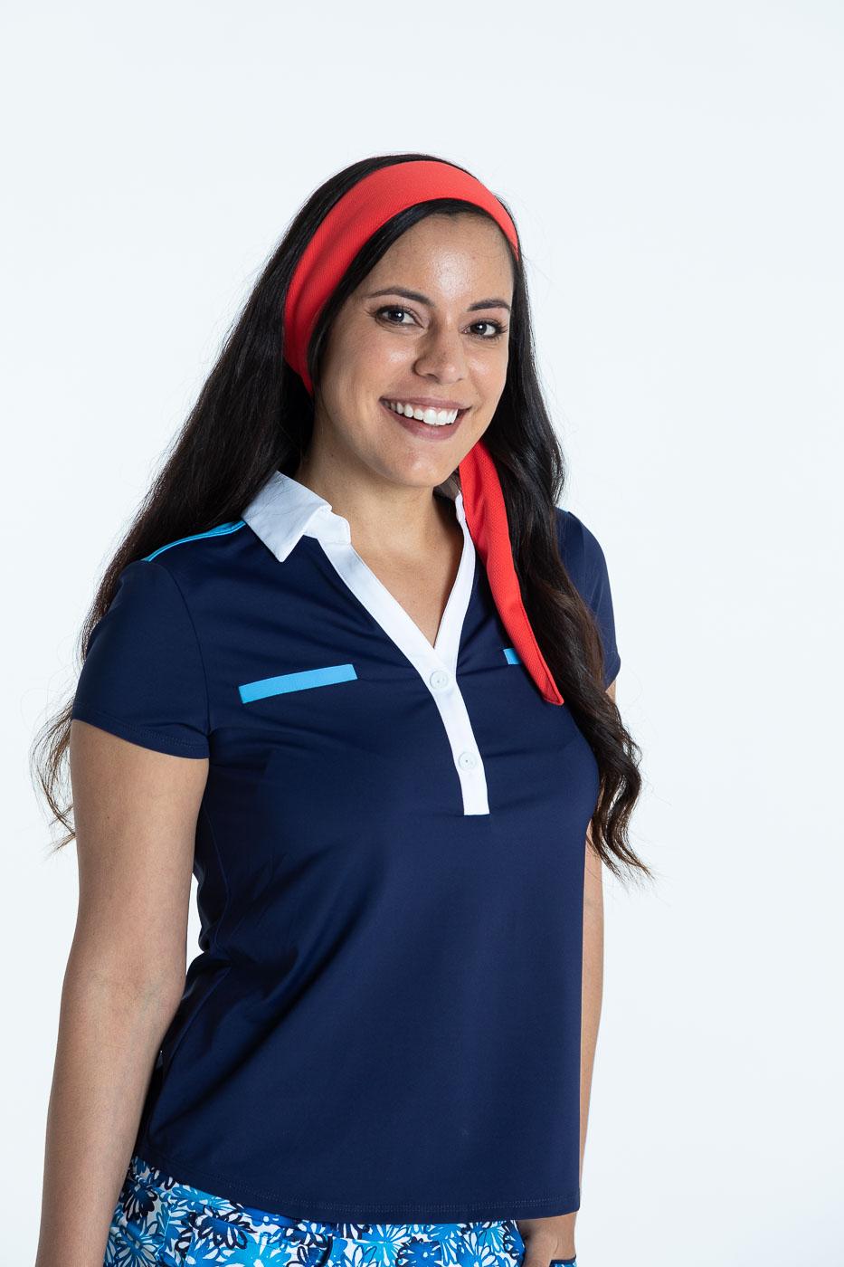 Close up of woman golfer in navy blue Shoulder Opener Shortsleeve Golf Top