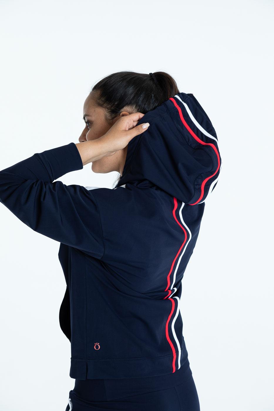 Back view with hoodie of the navy blue Apres 18 Sporty Stripe Longsleeve Hoodie