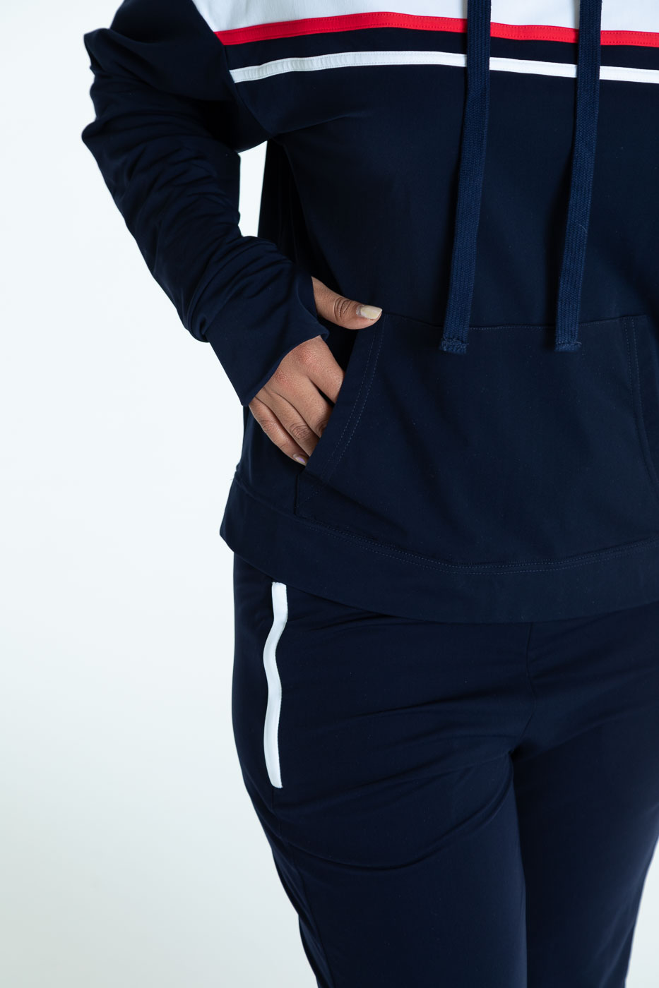 Close front view of the navy blue Apres 18 Sporty Stripe Longsleeve Hoodie