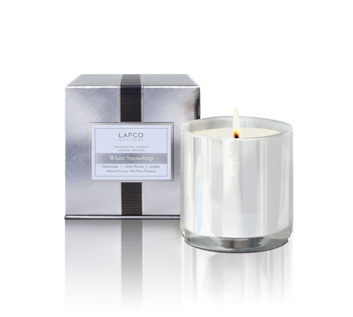 LAFCO Holiday Collection White Snowdrop Limited Edition Glass Candle