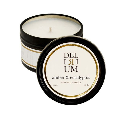 Delirium - Amber & Eucalyptus Travel Tin Candle