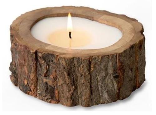 Himalayan Trading Post Irregular Raw Tree Bark Pot Candle Ginger Patchouli 9oz