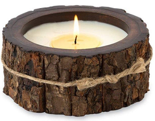 Himalayan Trading Post Tree Bark Candle Pot Candle Mountain Forest 9oz
