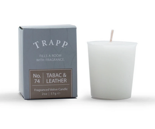 No. 74 Trapp Candles Tabac and Leather  - 2oz Votive Candle