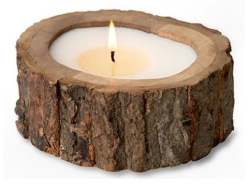 Himalayan Trading Post Irregular Raw Tree Bark Pot Candle Wild Green Fig 9oz