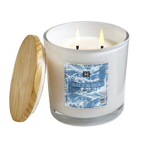Hillhouse Naturals Salt & Sea 12oz white glass candle