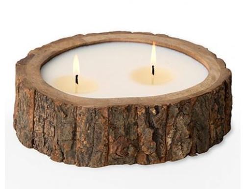 Himalayan Trading Post Irregular Raw Tree Bark Pot Candle Wild Green Fig 26oz