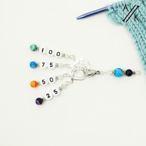 Halloween agate and howlite stitch markers