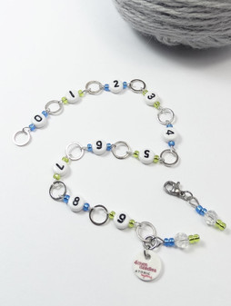 Blue/Green Numbered Beaded Row Counter