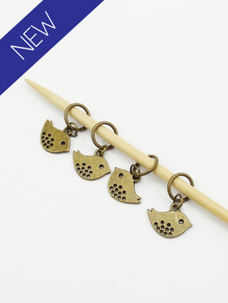 Bronzed Bird stitch markers