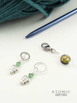 Leaf & paua shell stitch marker set