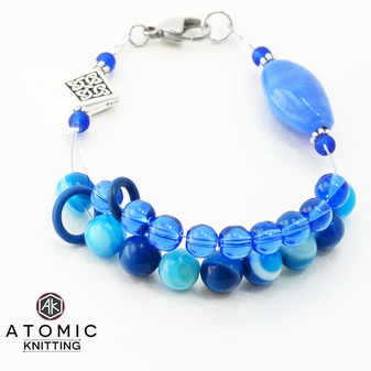 Blue Agate Twist & Celtic Diamond Counting Abacus Bracelet Row Counter