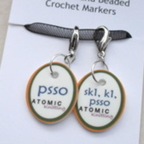 Instructional Stitch Markers - PSSO & sk1,k1,psso - set 1