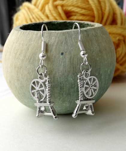 Silver Plated Spinning Wheel Earrings