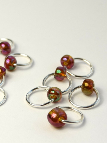 10 Lustre Bead Jewel Rings Lace Stitch Markers - 4mm