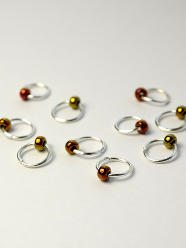 10 Dangle Free Tiny Bead Jewel Metallic Green Stitch Markers 4mm