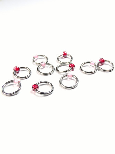Charity 10 Tiny Bead Jewel Rings Lace Markers 4mm - Breast Cancer Charity