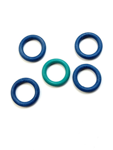 5 Blue/Green Snag Free rubber stitch markers 9mm - set 1