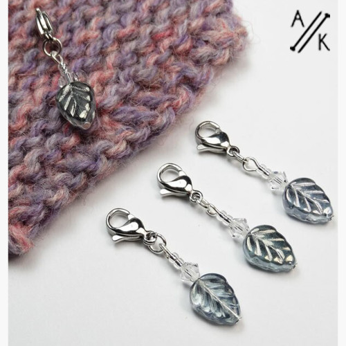 Silver Grey Leaves Stitch Markers - set of 4
